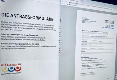 Foto eines Computerbildschirms mit Antragformular