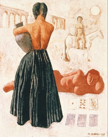 Como si de un fresco pompeyano se tratara, una mujer desnuda, de cintura para arriba nos da la espalda sosteniendo una vasija,parece un fragmento de ruinas,una pintura que guarda el misterio, de lo antiguo, el mito y el clasicismo.