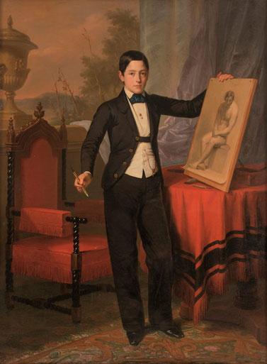 Antonio María Esquivel.El primogénito de Antonio Hompanera de Cos.1852.Fue uno de los retratistas de la España isabelina.En esta época era habitual en familias burguesas la formación en academias de dibujo.Elegante botonadura  y camisa blanca