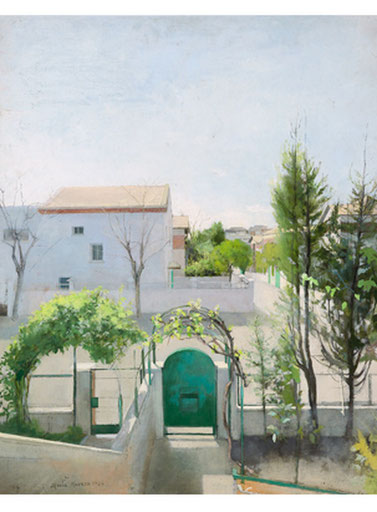 María Moreno.Entrada de casa,1980.Óleo sobre lienzo,90x75cm. Colección de la artista.