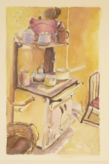 Old kitchen ( at Kildonan museum of South Uist, sold) 32.5cmx26.5cm