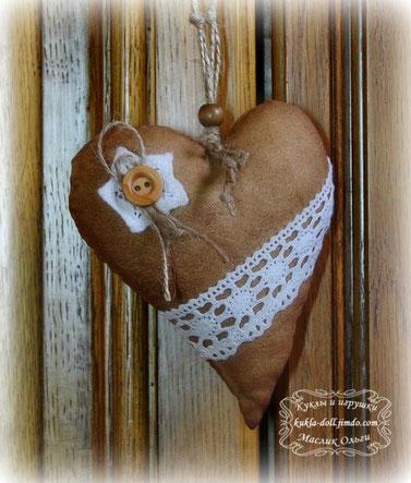 текстильное кофейное сердечко, автор Маслик Ольга