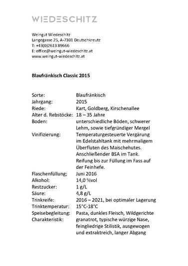 Steckbrief Blaufränkisch Classic 2015