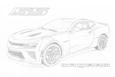 Line drawing of the Camaro SS Redline
