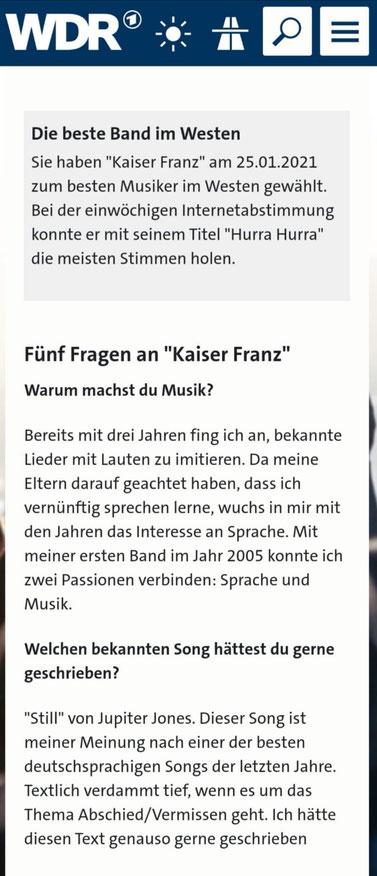 WDR 2 Pop - Szene im Westen, 25.01.2021 ©Westdeutscher Rundfunk