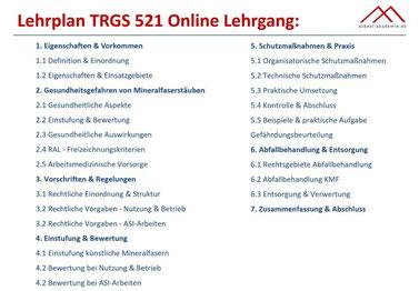 KMF Schulung - TRGS 521 Seminar Lehrplan Lehrgang