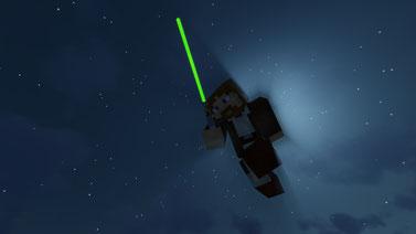 Obi Wan Kenobi with Luke Skywalkers Lightsaber