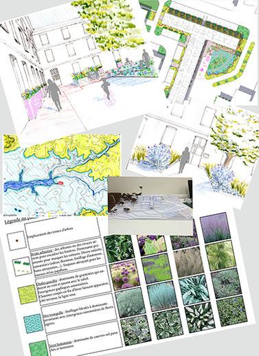 Plans, dessins d'ambiance, maquettes, palettes végétales, ... Autant d'outils pour vous aider à vous représenter votre futur espace.