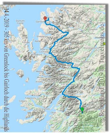 305 km von  Greenlock bis Gairloch durch die Highlands