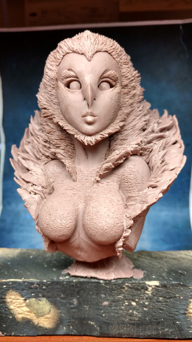 Graphigaut,  handmade sculpture, owl girl, Monster Clay