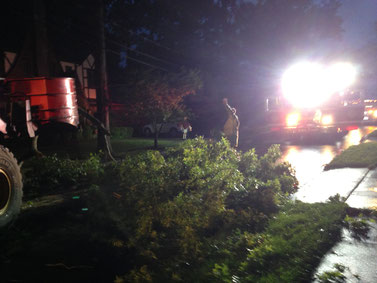 Engine 7 provides lighting for PSE&G and Fanwood DPW during electrical repairs and tree limb cleanup on Belvidere Ave