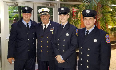 (l to r) FF Matt Ridge, Chief John Piccola, FF Mike Colineri, FF Vinny Biancho