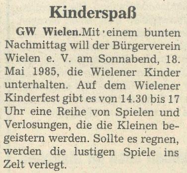Zeitungsausschnitt, 1985