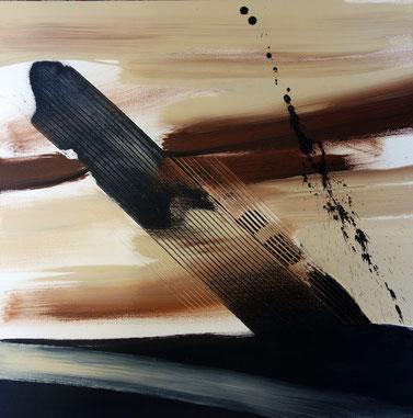 """""""en plein désert"""" - toile réalisée avec Benoit GUERIN - 60X60 - 2014"""