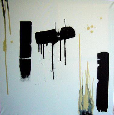 """""""Contre sens"""" - toile réalisée avec Benoit GUERIN - 100X100 - 2013"""