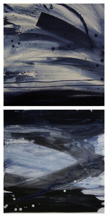 """""""l'écume des nuits"""" - 2 toiles de 60X60 réalisées avec Benoit GUERIN - 2013"""