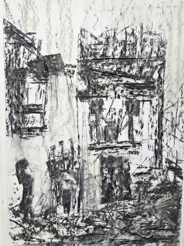 memories, 2019, Kohlezeichnung, 70x 50 cm