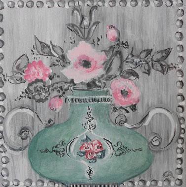 peinture vase, ornements et fleurs, rose et gris