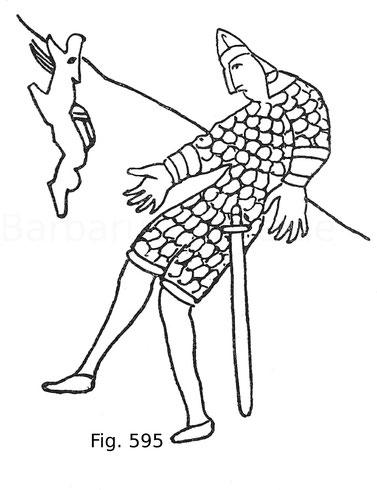 Fig. 595. Verwundeter Träger eines Drachens. Aus der Tapete von Bayeux. Ende des 11. Jahrhunderts.