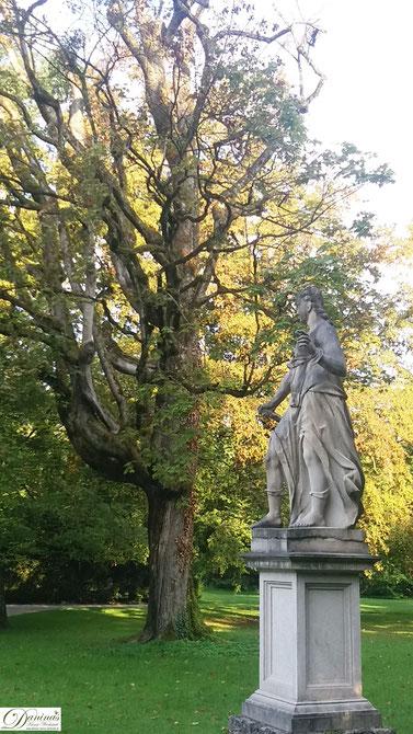 Salzburg Schlosspark Hellbrunn alte Bäume und Steinfiguren