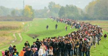 Flüchtlinge in Slowenien im Oktober 2015