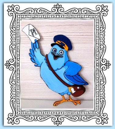 """Pigeon """" Facteur """" en bois"""