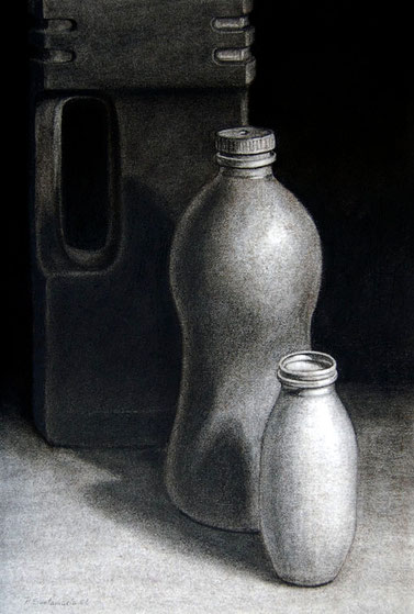 Botellas 2008, carboncillo 50X35 cm