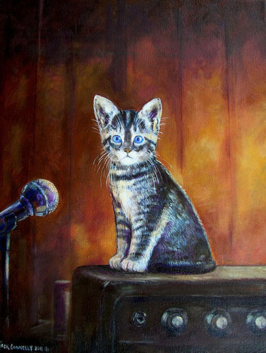 """Garage Band Kitten"" painted as a Commission piece by Jack Connelly"