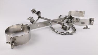 Bondage & BDSM - Fessel Set zum Befestigen mit Handschellen, Beinspreizer und Kette