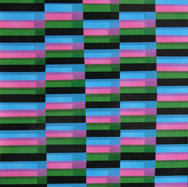 Vert + noir + bleu + rose, dim. 93cm x 93cm, 2009