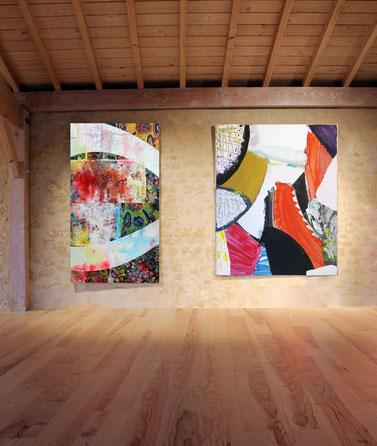 Quand de subtils tissus colorés intègrent les toiles de l'artiste Laurent Valera en dialogue avec la matière et les enduits énergiques de Thierry Riffis