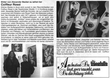 Artikel in der Homburger Bagatelle Ausgabe November 2012 (zum vergrößern anklicken)
