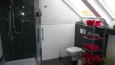 Badezimmer mit Duschgelegenheit - Tageslicht, Fenster mit Solar Rollo mit Fernbedienung ausgestattet