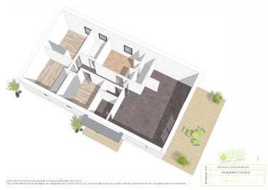 Plan maison plain pied 4 chambres perspectives intérieures