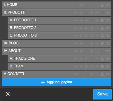 Esempio di menu di navigazione ad albero