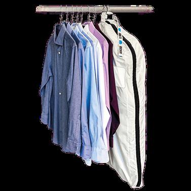 mueden.de, Kleiderhülle, Bild von Kleiderhülle mit Hemden auf Bügel
