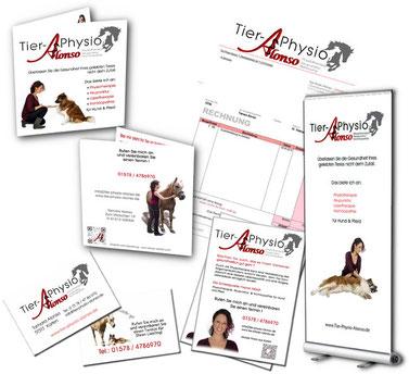Flyer, Visienkarten, Rechnung, Plakat Tier-Physio-Alonso