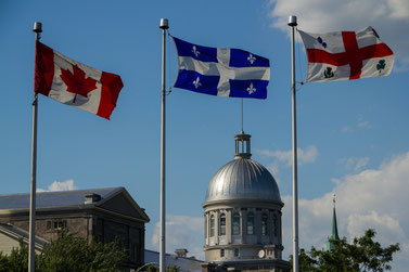 Flags of Canada, Quebec, and Montreal
