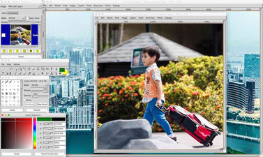 The old user interface of CinePaint, free photo editing software