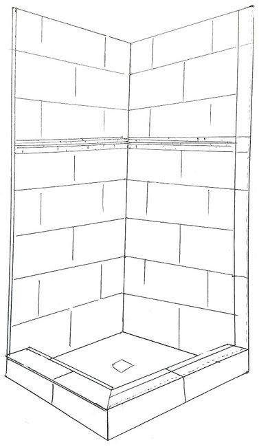 Black and white line drawing of a tiled shower with Schluter edge trim on one side and bullnose trim on the other side.