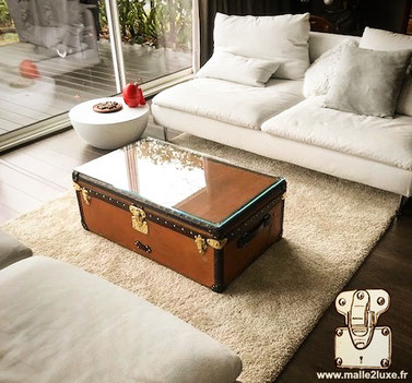 Table basse Louis vuitton verre malle cabine