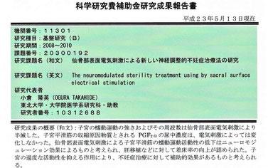 """""""仙骨部表面電気刺激による新しい神経調整的不妊治療法の研究"""""""