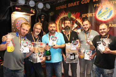 Die drei besten Teams: (v.l.n.r.) Stefan & Friedbert,        Heiko & Torsten, Martin & Martin