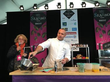 Philippe le Bigot (Restaurant Le M à Brest) en démonstration culinaire (c)CP/Scarmor