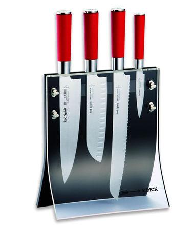 Acrylglas Messer Block, Messerblock mit roten Messern, professioneller Block für Messer, rotes Brotmesser, Sandokumesser in rot, Officemesser Farbe rot