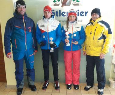 Bild: Von links nach rechts: Lothar Köberle (1. Vorstand Skiclub Rettenberg), Josef Fässler, Lisa Verena Schafroth und Georg Müller (Brauerei Zötler)