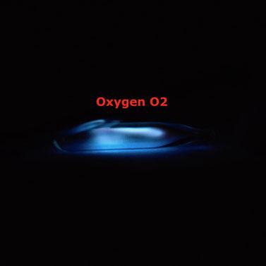 rarefied oxygen gas ampoule, ampoule of oxygen, ionizable oxygen gas, excitable oxygen gas ampoule, rarefied oxygen gas ampoule