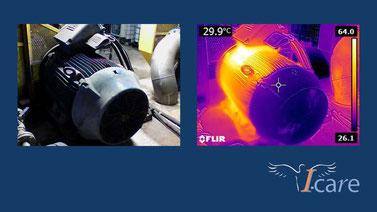 Optisches Bild und Wärmebild eines Elektromotors in Falschfarben (aufgenommen mit Flir-Wärmebildkamera)