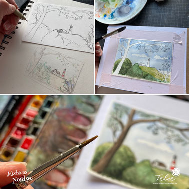 "3 Schritte zur Illustration: Skizze, Outline, Watercolor, Illustration ""Aussicht mit Leuchtturm"""