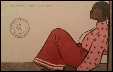 Carte postale ancienne de Sainte-Marie de Madagascar: Diégo-Suarez, femme de Sainte-Marie, 26 octobre 1918
